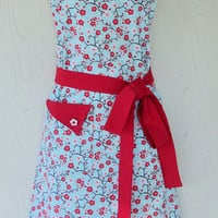 Cherry Blossom Floral Apron, Full Apron, Womens Full Apron, Vintage Style, KitschNStyle