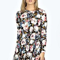 Emily Floral Brushed Knit Swing Dress