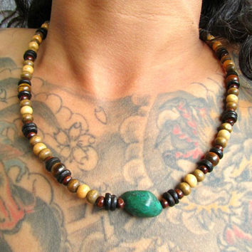 FREE POST / Karen Silver Turquoise Coconut & Wood Beaded Necklace for Men / Mala Style Hippie Surfer Boho Festival Necklace