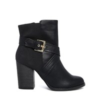 New Look Bankle Black Heeled Strap Boots