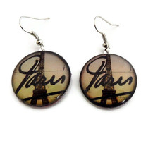 Eiffel Tower Earrings, French Paris Nickel Free Glass Jewelry, Vintage Image