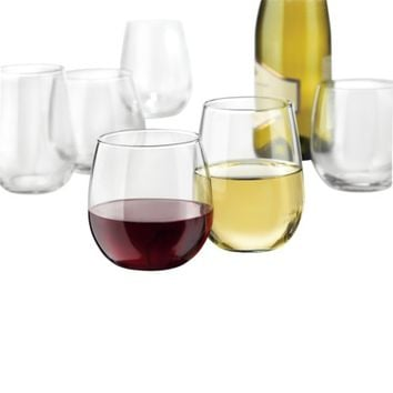 Libbey 12 Piece Red And White Wine Stemless Glassware