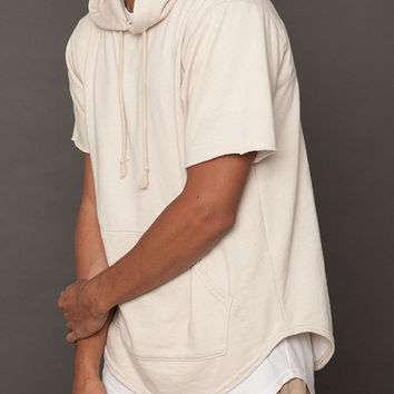 Sand French Terry Short Sleeve Curved Hem Hoodie