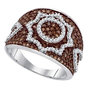 10kt White Gold Women's Round Brown Color Enhanced Diamond Starburst Fashion Ring 1.00 Cttw - FREE Shipping (US/CAN)