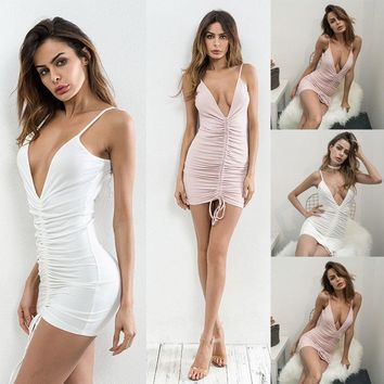 Women Ladies Sexy V-Neck Sleeveless Strap Bandage Bodycon Evening Party Short Mini Dress Club Wear