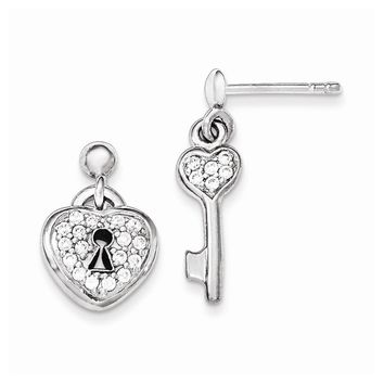 Sterling Silver Polished CZ Heart Lock and Key Post Dangle Earrings