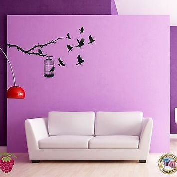 Wall Sticker Birds Branch Cage Cool Decor for Bedroom Unique Gift z1429