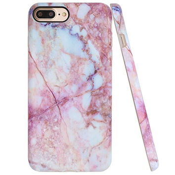 Pink Marble Case for iPhone 6 6s Plus & iPhone 7 Plus +Gift Box