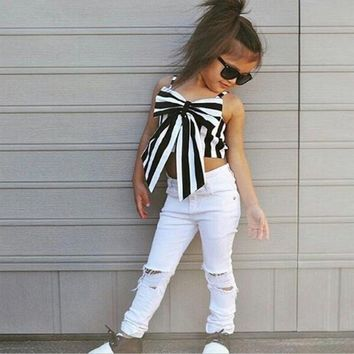 Fashion Top Children Bow Stripe T-shirt Girl Sleeveless Shirt