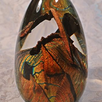 FREE SHIPPING 1995 Randy Strong Paperweight, Vintage Glass Art, Blown Glass Paperweight, Dichroic Copper, Turquoise, And Gold
