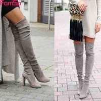 Thigh High Boots from Russia. Warm High Heel Suede Boots.