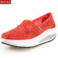 New 2016 Summer Hollow Lace Breathable Massage Female Platform Shoes Casual Women's Shoes Fashion Women Wedge Zapatos Mujer