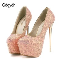 Gdgydh Fashion Women Platform Shoes 2018 New Spring Autumn Bling Women Pumps Thin Heels Sexy Slim Party Shoes High Heels