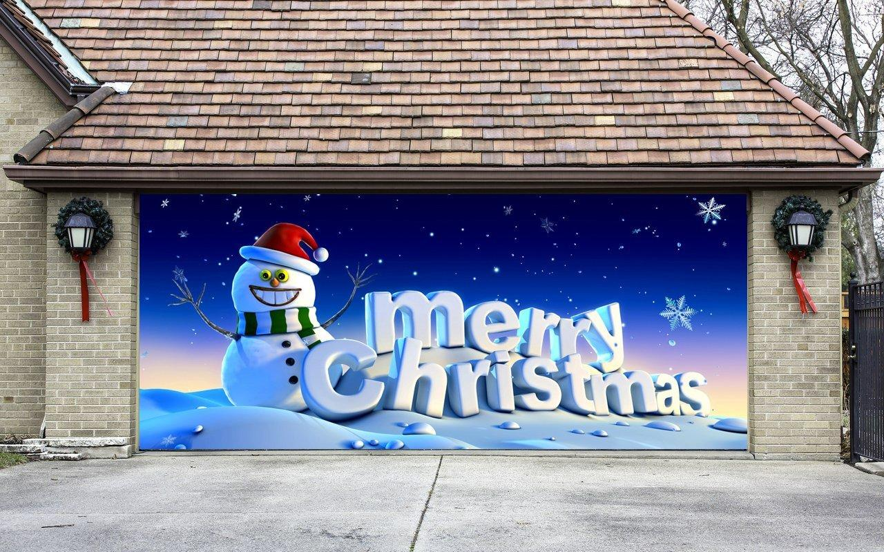 Garage door decoration aaron diy garage door r on awesome for Christmas garage door mural