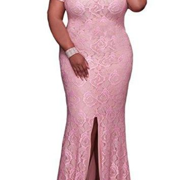 Elapsy Womens Plus Size Off Shoulder Strapless High Slit Floral Maxi Party Long Cocktail Dress Pink XX-Large