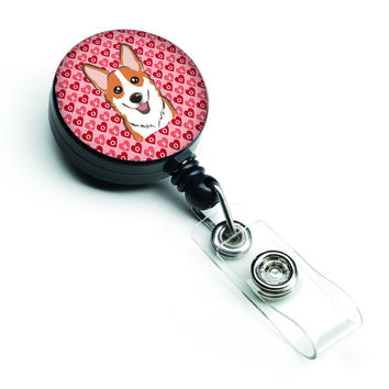 Red Corgi Hearts Retractable Badge Reel BB5324BR