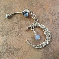 Blue Moon Belly Button Jewelry Ring