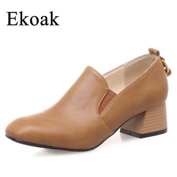 Ekoak New 2018 Spring Women Pumps Square Toe Middle Heels Shoes Woman Fashion Metal Rings Office Lady Leather Shoes