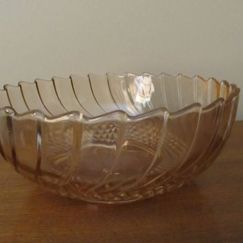 Pink Carnival glass bowl  Miss America pattern