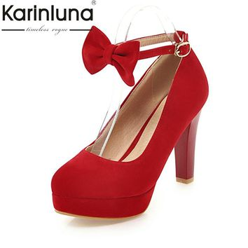 KARINLUNA High Quality 2018 Buckle Strap Large Size 31-47 Women Shoes Woman Fashion Bowtie High Heels Party Wedding Pumps