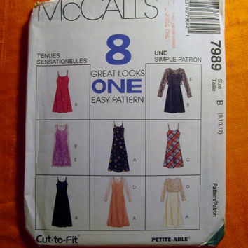 Sale Uncut 1995 McCall's Sewing Pattern, 7989! 8-10-12 Small/Medium/Women's/Misses/Sleeveless Sundress/Petite-able/Slip Dress/Sheer Top/Over