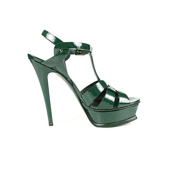 Saint Laurent Dark Green Patent Leather Tribute Heels Us 8.5 EU 38.5