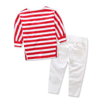 Casual Toddler Kid Baby Girl Red Striped Long Sleeve T-shirt White Ripped Jeans Outfits Set