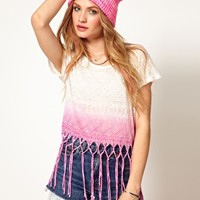 Cute Dip Dye Aztec Tribal Fringe Crop T Shirt Top at Asos | Asos.com