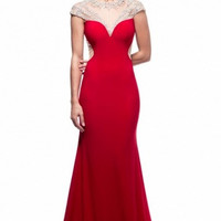 Kari Chang KC16 Red Cap Sleeve Must SEE Back Prom Dress