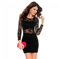 Fashionable Sexy Hollow-out Hip-Hugger Nightclub Long Sleeves Lace Lady Dress Black Free Size - Default