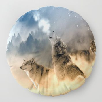 Moonrise Howl Floor Pillow by inspiredimages