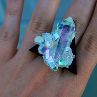 Triangle Angel Aura Crystal Cluster Cocktail Ring