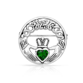Celtic Claddagh Circle Brooch Pin Kelly Green Heart Sterling Silver