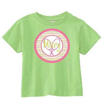 Tennis Racquets on Personalized Lime T-Shirt