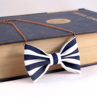 Bow Tie Necklace Nautical Stripes White and Blue by Fr33na