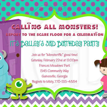 Monsters Inc inspired Birthday invitation-Digital File