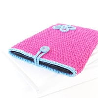 Pink Blue Kindle Paperwhite reader cover, Kobo Glo HD sleeve, inkBOOK sock, flower Kindle Oasis case, Tolino case, Nook Glowlight plus cozy