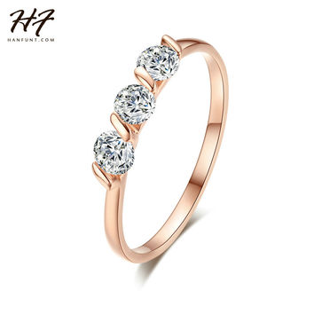 Gold Plated 3 Pieces Zirconia Diamond Forever Wedding Rings anel Ladies Jewelry / Jewellery Rings Bijoux R067 R068