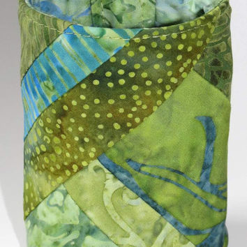 Wrist Wallet, Zippered Wrap Cuff, Hands-free, Secure, Green Batiks, Pieced Quilted
