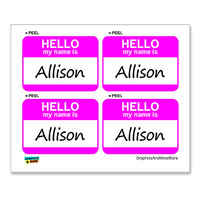 Allison Hello My Name Is - Sheet of 4 Stickers