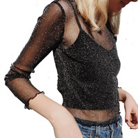 Sexy Long Sleeve Transparent Mesh Women Tops Tees Summer Casual Loose Black Perspective Blouse Shirt Pullovers Blusa Feminina