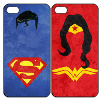 Superman and Wonderwomen Samsung Galaxy S3 S4 S5 Note 3 4 , iPhone 4 4S 5 5s 5c 6 Plus , iPod Touch 4 5 , HTC One M7 M8 ,LG G2 G3 Couple Case