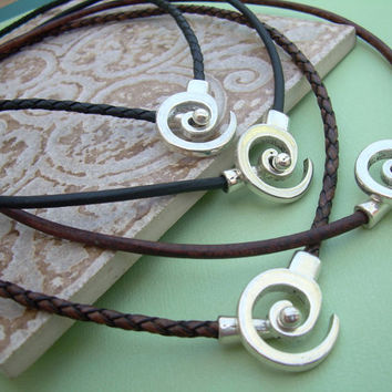 Leather Necklace Men's Women's Unisex - Antique Silver  -Tribal Inspired Spiral Pendant Closure, Mens Jewelry, Womens Jewelry