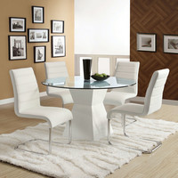5 Pc. Mauna Contemporary Style Glass Table Top With White Base