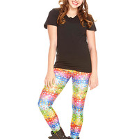 Girls Emoji Rainbow Leggings
