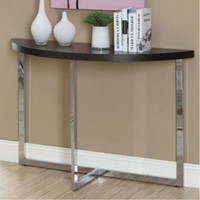 Modern Console Table Stylish Chrome Base Living Room Furniture Cappuccino Finish