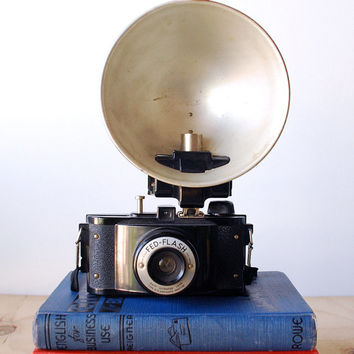Antique Fed Flash Camera with Flash Attachment 1940's 1950's Vintage Camera