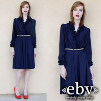 Vintage 80s Navy Ruffled Tuxedo Dress S M L Tuxedo Dress Secretary Dress