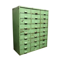 Vintage Industrial Library Card Catalog --Green Multi Drawer Stationary Cabinet