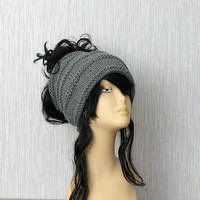 Dreadlock tube Hat  headband  head wrap in CHARCOAL  Women Hat Plain wide hair accessory dreadlocks cover up